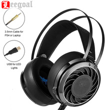 Professionalgaming headphone 3.5 mm Over Ear Gaming Headset Bass Earphones with Mic Noise canceling LED Light for PS4 Laptop PC