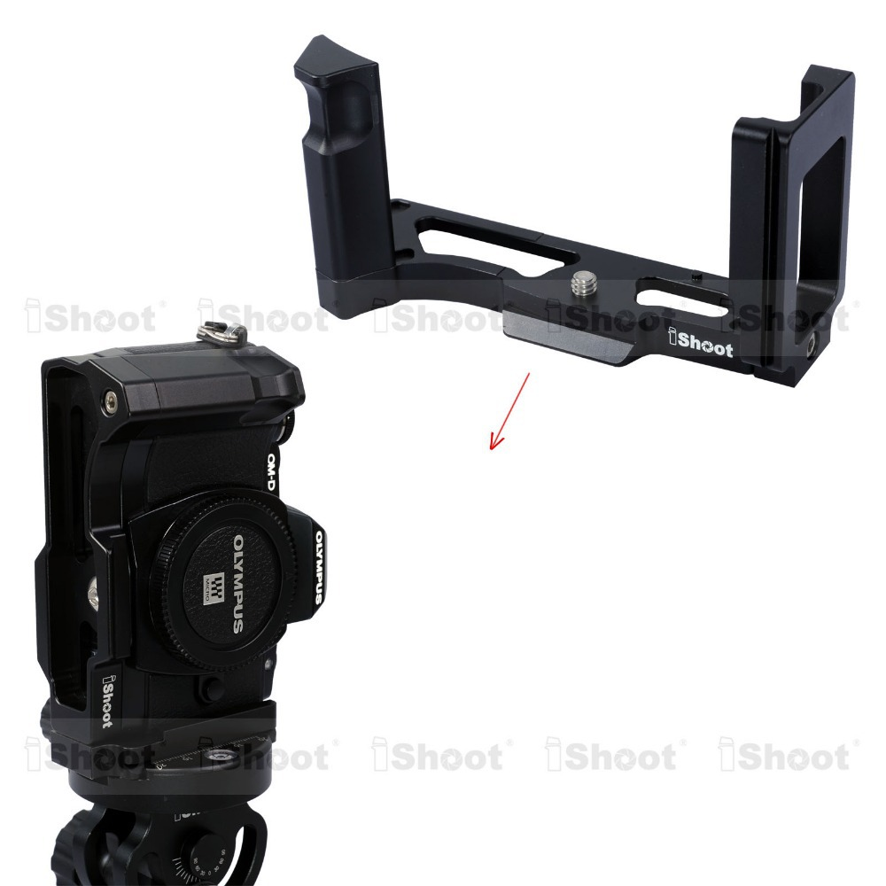 iShoot Removable Metal L shaped Vertical Quick Release Plate/Camera Holder Bracket Grip for Olympus OM-D E-M10 Tripod Ballheads