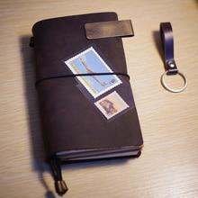 Reisverslag vintage lederen cover notebook imprint monogram schoolbenodigdheden filler leer gebonden journal notebook