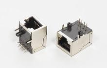 200PCS/lot New RJ45 Modular Network Jack 8P8C 8 Pin LAN PCB Connector with shielding L=21.3mm