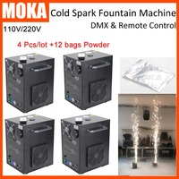 4 Pcs/lot with 12 bags powder CE approved DMX electric cold spark machine Fireworks Sparkular Machine for wedding party shows