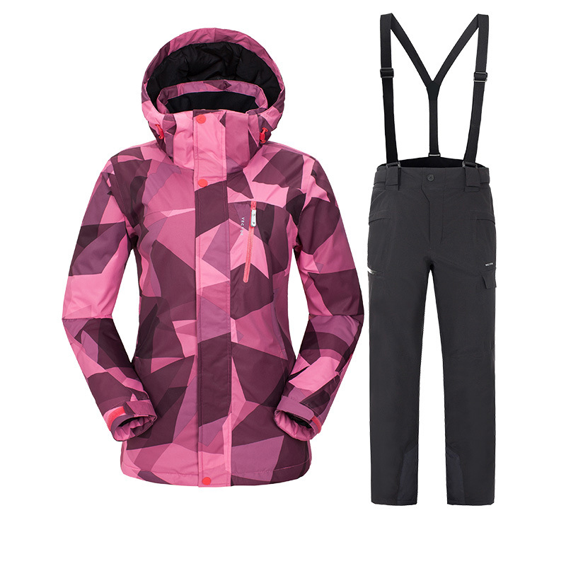 Outdoor Sports Women Ski Suit Jackets and Pants Suspenders Trousers Winter Snowboarding Windproof Waterproof Snow Skiing Suits 2018 new lover men and women windproof waterproof thermal male snow pants sets skiing and snowboarding ski suit men jackets