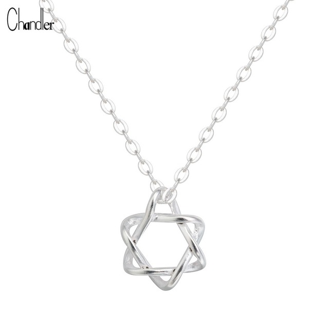925 Sterling Silver David Star Necklaces & Pendants For Women Tiny Simple Charm Geometrical Long Chain Colier Lovely Jewelry