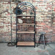 American rural retro iron bookcase shelves shelving storage rack wood floor doing the old display racks