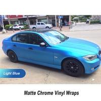 Ice Light Blue Matte Chrome Car Vinyl Wrap Sticker Film With Air Channels Air Bubble Free