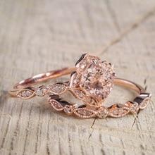2 Pcs/Set Crystal Ring Jewelry Rose Gold Color Wedding Rings For Women Girls Gift Engagement Wedding Ring Set