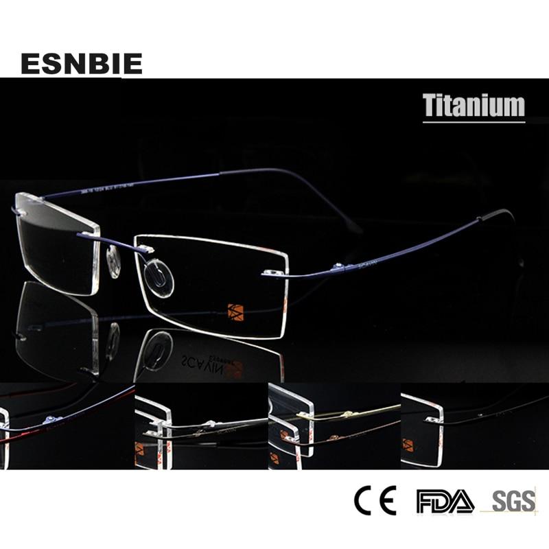ESNBIE Reçetesi Optik Çərçivə Kişilər Üçün Qadın Unisex Yüngül Yaddaş Elastik, Rimless Titan Gözlük Şkafları