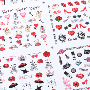 Image 4 - 12pcs Romantic Valentines Water Decals Sliders Nail Art Decorations Stickers Sexy Lips Flower Heart Tattoo Wraps JIBN1069 1080