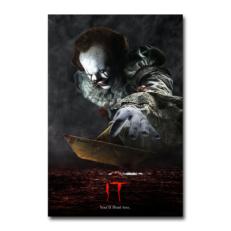Art Silk Or Canvas Print IT Horror Movie Poster 13x20 24x36 Inch For Room Decor Decoration-002