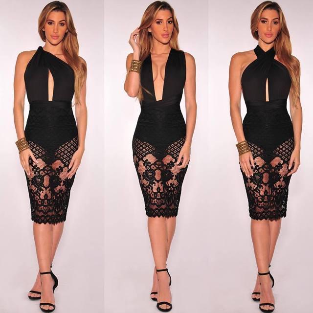 Сексуальные летние платья выдалбливают женщины без рукавов глубокий v повседневная черное кружево dress party club элегантный dress vestidos femininas