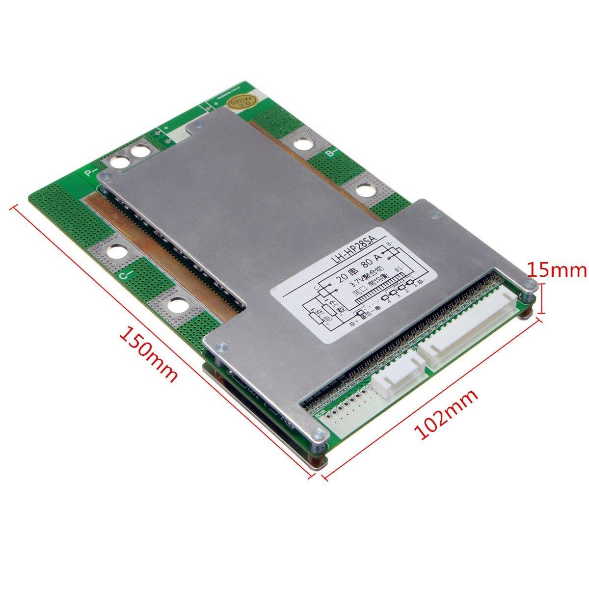 Hot Sale 1PC 20S 72V(84V) 80A 18650 Li-ion Lithium Battery Protection Board BMS MOS + Balance Module