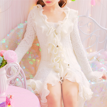 Elegant Knitted Open Sticch White Female Princess Sweet Cute Ruffles Long Sleeve Cardigans Flare Sleeve 2017 Women Long Sweater