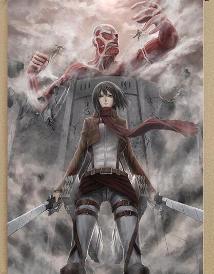 2016 anime wall scroll paintings attack on titan eren mikasa ackerman levi art canvas paintings wall picture
