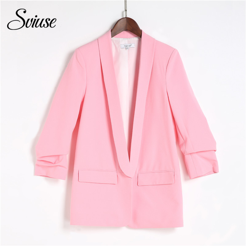 Ladies Style Spring Blazer Pink Inexperienced Three Quarter Sleeve Informal Korean Fashion Jacket Elegant Workplace Women Enterprise Blazer 5Xl