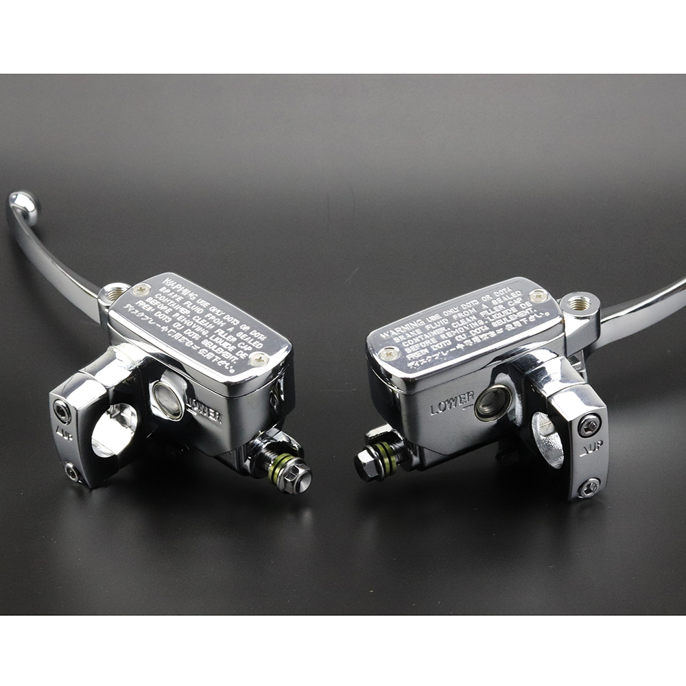 Pair Chrome Universal Motorcycle 7/8 Handlebar Brake Clutch Master Cylinder Levers For Harley Honda Suzuki Kawasaki Yamaha BMW for harley yamaha kawasaki honda 1 pair universal motorcycle saddle bags pu leather bag side outdoor tool bags storage undefined