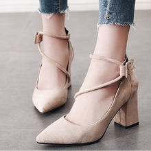 Fashion High Heels Newest Women Pumps Summer Shoes Thick Heel Comfort Woman Ankle Strap CH-B0077