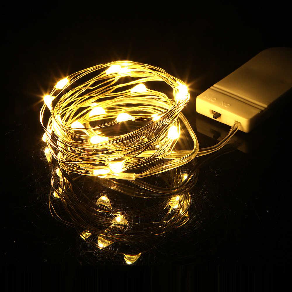 أسلاك نحاسية للزينة على شكل إكليل بطول 1 متر و2 متر و3 أمتار CR2032 تعمل بالبطارية لتزيين حفلات الكريسماس وحفلات الزفاف LED سلسلة مصابيح خيالية