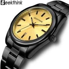 Quartz Watches Mens Fashion Luxury Brand Men Clock Business Stainless-Steel Black Casual