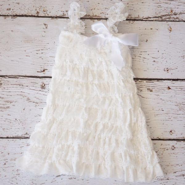 White Lace Flower Dress Baptism Baby Western Junior Brides Maid