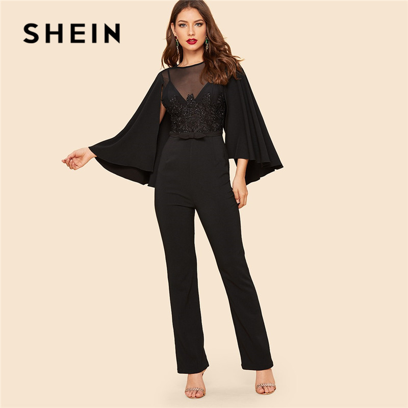 SHEIN Glamorous Mesh Insert Applique Cape Sleeve Black   Jumpsuit   Spring Round Neck Mid Waist Going Out Elegant Women   Jumpsuit