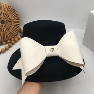 Image 4 - 英国社交ヘップバーン風小大つばファッションショー顔流域帽子ちょう結び日本人女性秋洞小さな漁師