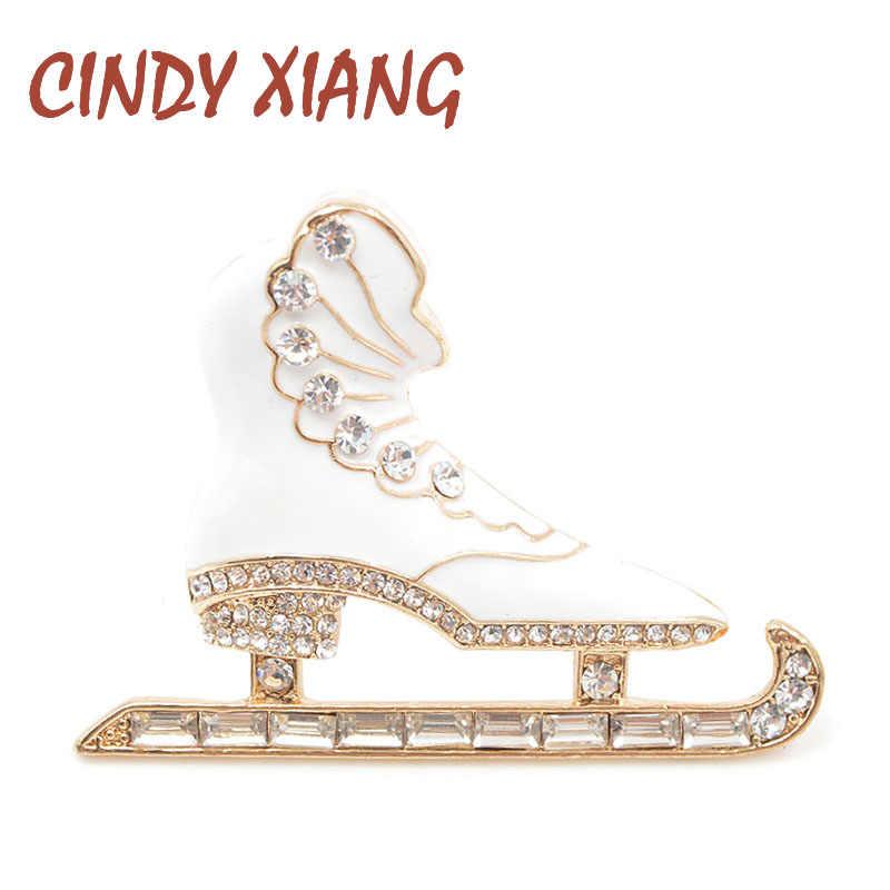 Cindy Xiang Berlian Imitasi Warna Putih Enamel Sepatu Skating Bros untuk Wanita Indah Fashion Mantel Aksesoris Baru 2018 Hadiah