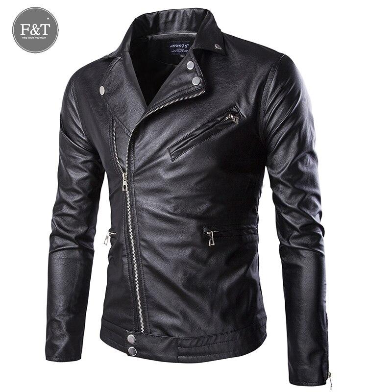 [Asian Size] New Brand High Quality Motorcycle Leather Jacket Men Casual Oblique zipper Winter Jackets Coats Jaqueta De Couro