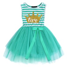 2019 New Cute Baby Dress Girls 2nd Birthday Cake Smash Outfit Crown Print Striped Tulle Kids Princess Party