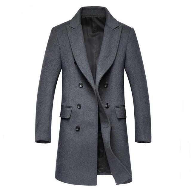 2016 Nova Marca Dos Homens De Alta-grade Casaco de Lã Longo Casaco Trespassado de Slim Casaco de Lã & Blends Outono Inverno Dos Homens Outwear