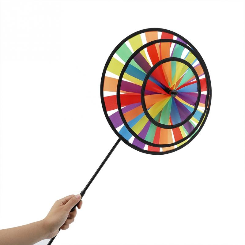 New Rainbow Triple Wheel Windmill Toy Colorful Pinwheel Whirligig Garden Party Outdoor Decor Windmill Toys For Children Kids