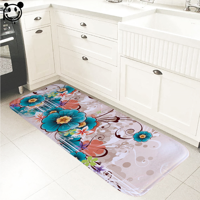 PEIYUAN Indoor Door Mat Flannel Soft Floor Mats Flowers Foot Pad Toilet  Tapete Rugs Carpets Home