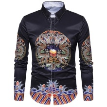 Retro Style New model Shirts Dragon pattern Men Slim Casual Blouse Long sleeve