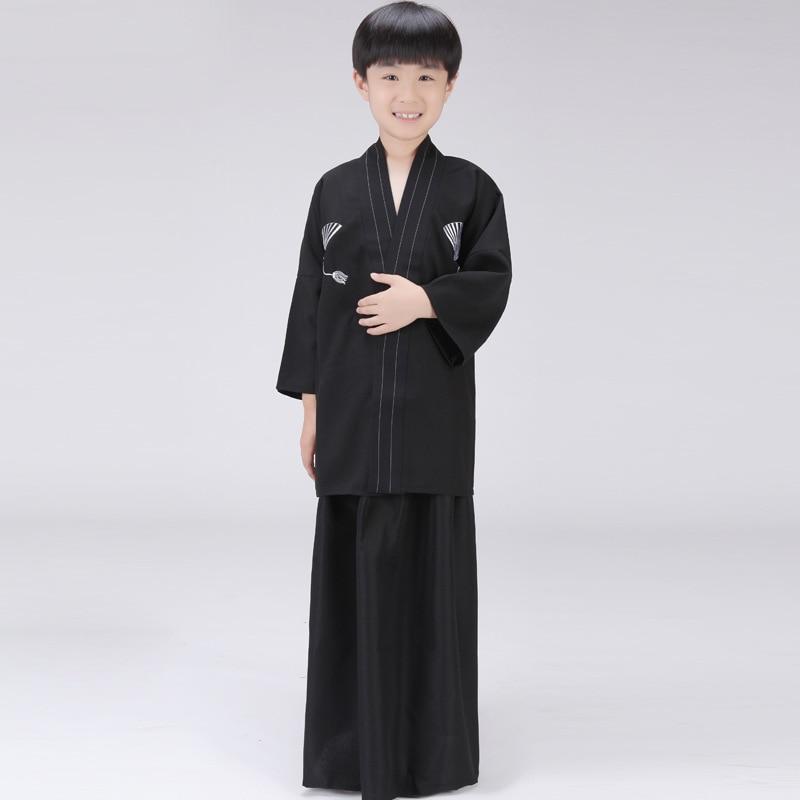 3 Piece Set Japanese Kimonos Traditional Clothing Samurai Cosplay Costume Boys Vintage Long Kimono Black Cotton Yukata In Asia Pacific Islands