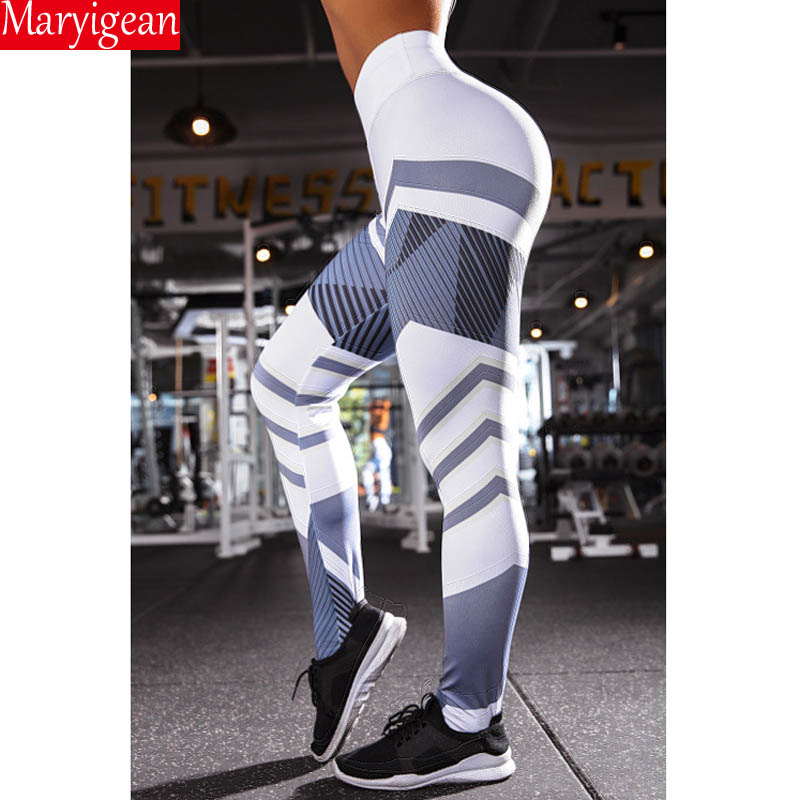 Maryigean 2019 New Activewear High Waist Fitness Leggings Women Pants Fashion Patchwork Workout Legging Stretch Slim Sportswear