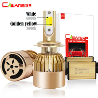 Cawanerl H1 H3 H4 H7 Double Color LED Headlight Lamp 72W 7600LM Per Set 3000K 6000K
