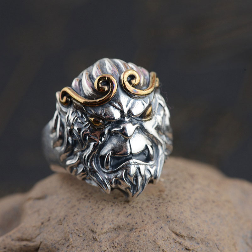 925 Sterling Silver Skull Ring Skeleton 100% Real S925 Thai Silver Rings for Women Jewelry Male Men Adjustable Size thailand imports skull blood new skeleton silver ring