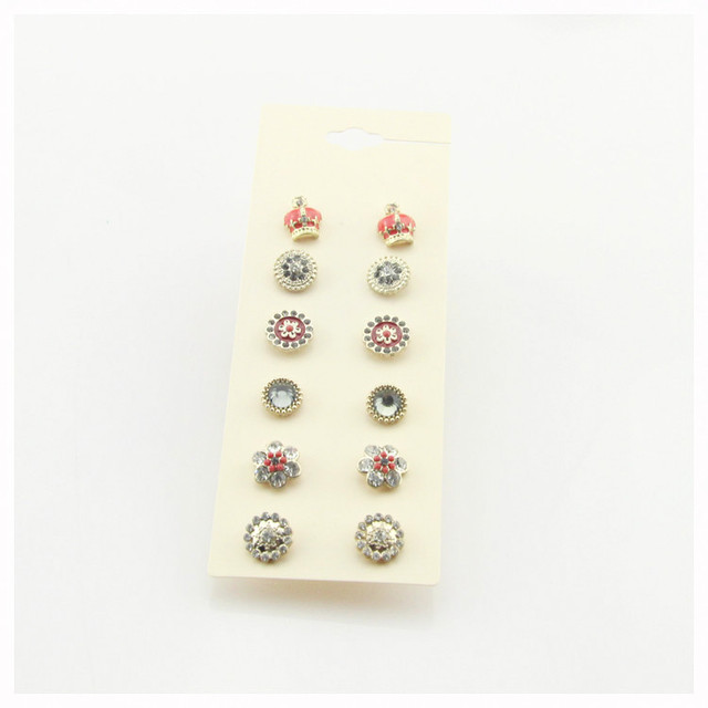 6 Pairs Cute Round Diamante Stud Earring Set For Women Crystal Fl Earrings