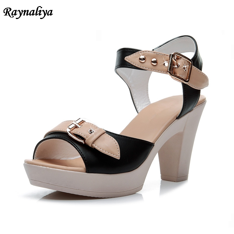 2018 Women Sandals High Heel Women Shoes Ankle Strap Summer Sandals Peep Toe Thick Heeled Ladies Footwear Big Size LSN-B0119 aiykazysdl summer women sandals thick