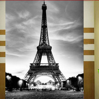 Eiffel Tower Black And White Photo Wallpaper For Hot Sales 2014 Super Heavy Washable Fabric