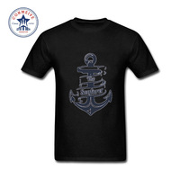 2017 Hot Selling Funny cotton Anchors printed summer Funny T Shirt for men