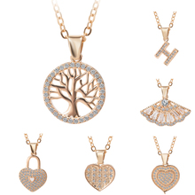 Choker Tree Heart Zircon Necklace for Women Crystal Round Pendant CZ Necklace Gold Silver Colors Bijoux Collier Women Jewelry