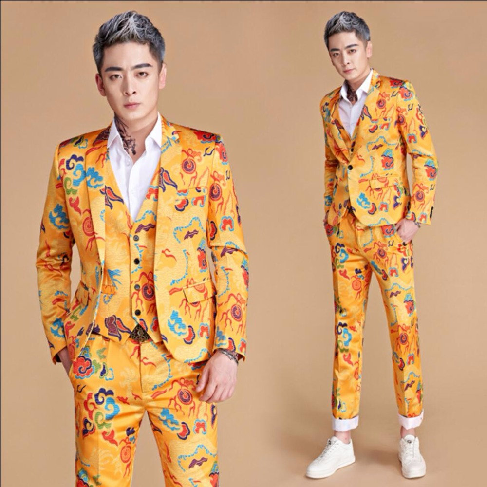 M-3XL New Men print suits golden yellow chinese dragon slim suit dress nightclub singer Performance costume hairstylist clothing