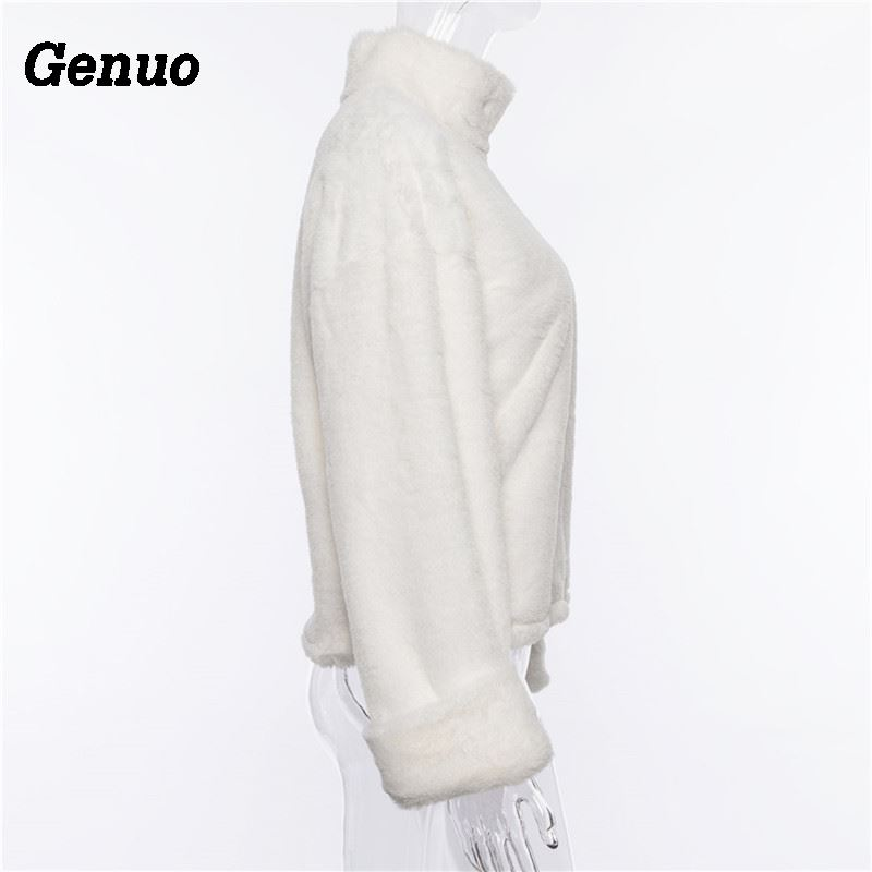 Genuo long sleeve turtleneck white soft plush sweater women 2018 autumn winter casual thick warm faux fur pullover tops women in Pullovers from Women 39 s Clothing