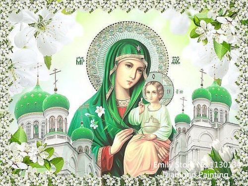 Green castle icon diamond painting cross stitch full diamond embroidery europe home decoration sqaure drill religion