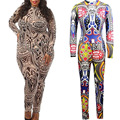 2016 New Plus Size Rompers Women Tribal Tattoo Printing Mesh Retro Long Sleeve Sexy Bodysuit Catsuit Playsuit Bodycon Jumpsuit