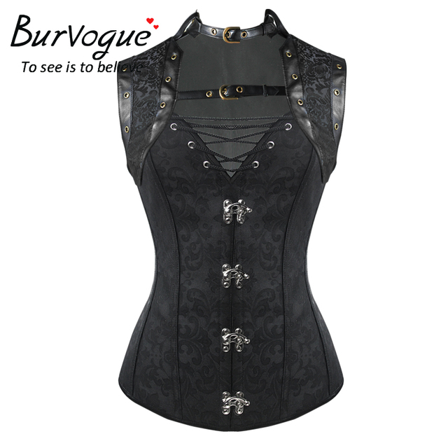 Burvgue Fashion Gothic Corsets and Bustier for Women Waist Trainer Steampunk Corset Waist Control Overbust Leather Corset
