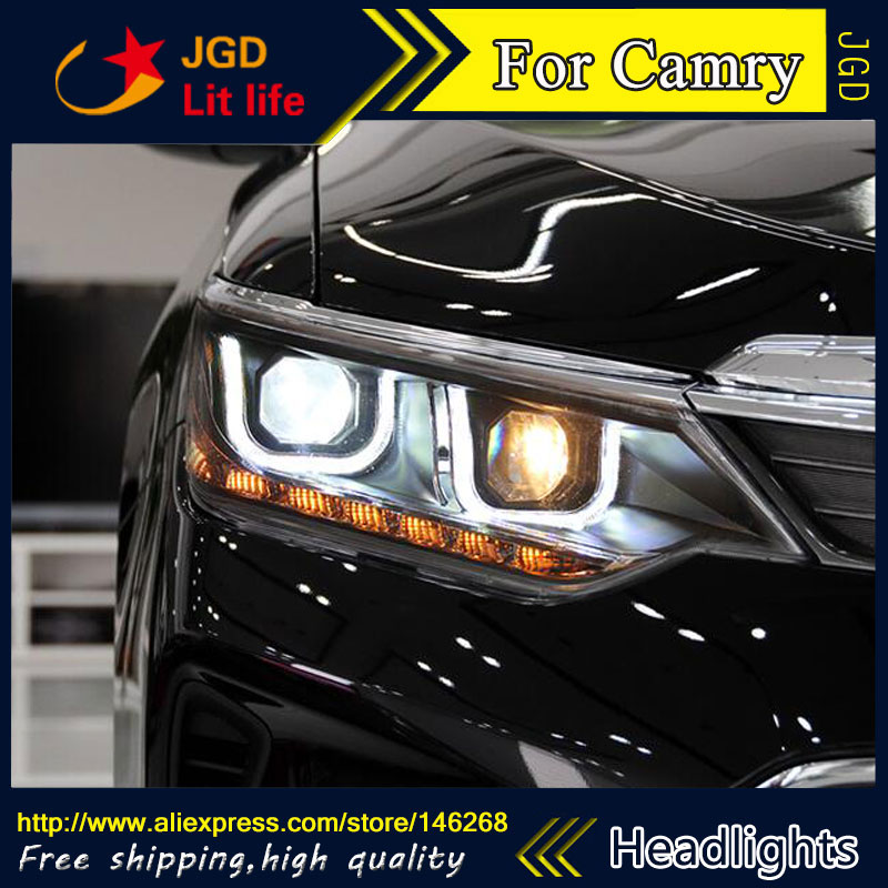 Free shipping ! car styling led hid rio led headlights head lamp case for toyota camry 2015 bi-xenon