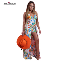 2017 Summer Women Sleeveless Sexy V Neck Long Ruffles Short Jumpsuits Fashion Printing Skinny Bohemian Vacation
