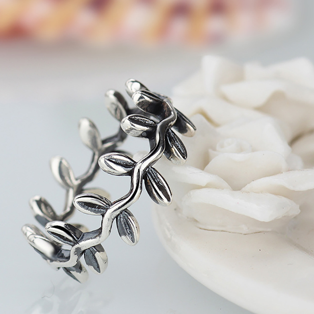 20787de4b New Collection Authentic Laurel Wreath Laurel Leaves Pandora Ring Plated  Silver Weeding Rings for Woman Jewelry