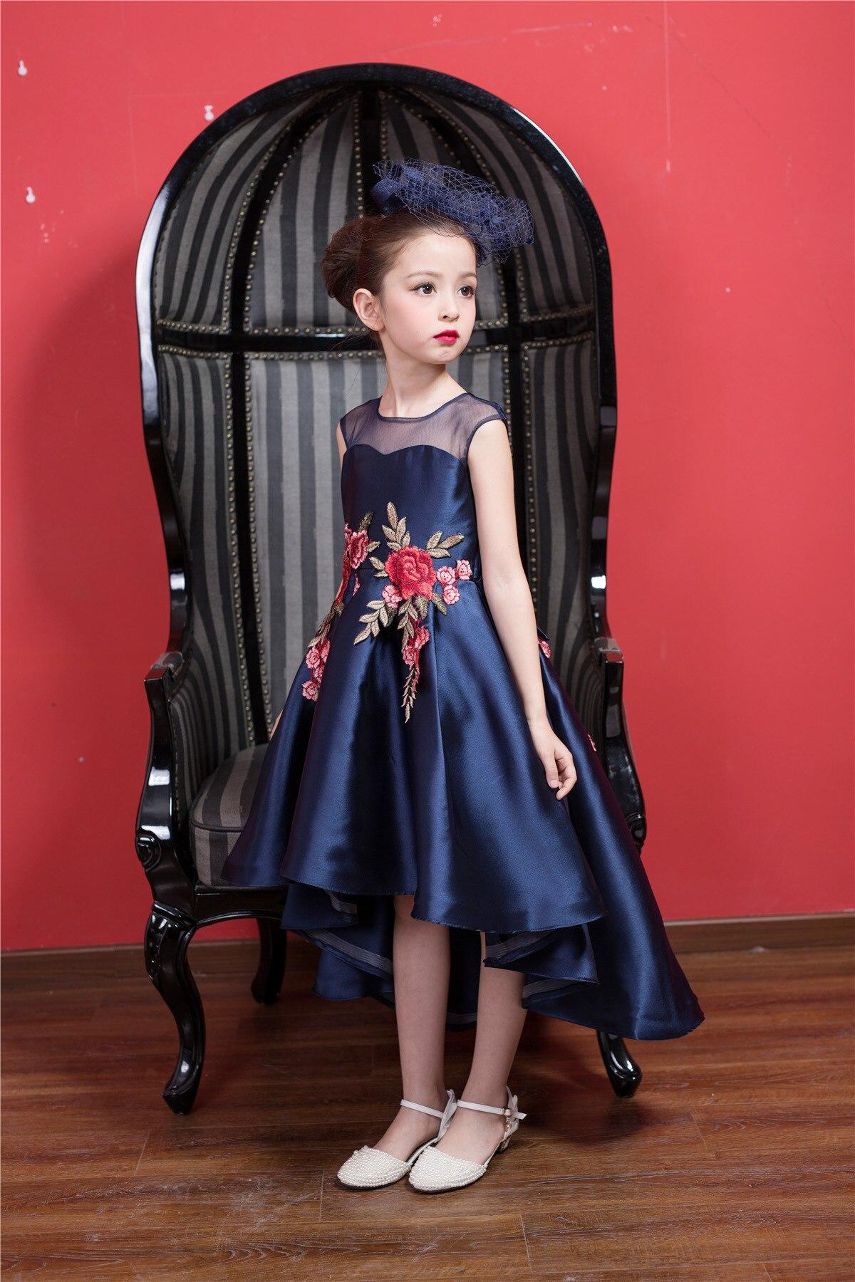 d50b9b84cf57a Azul Marino delantero corto Vestido Formal de chica Navidad chico ...